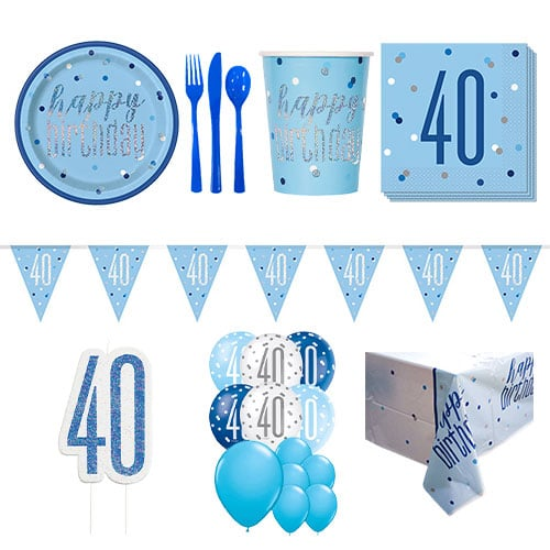 Blue Glitz 40th Birthday 16 Person Deluxe Party Pack