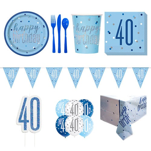 Blue Glitz 40th Birthday 8 Person Deluxe Party Pack
