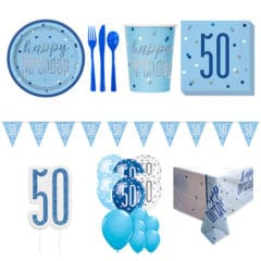 Blue Glitz 50th Birthday 16 Person Deluxe Party Pack