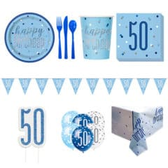 Blue Glitz 50th Birthday 8 Person Deluxe Party Pack