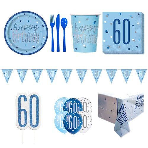 Blue Glitz 60th Birthday 8 Person Deluxe Party Pack