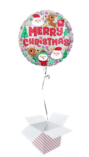 Christmas Buddies Round Foil Helium Balloon - Inflated Balloon in a Box