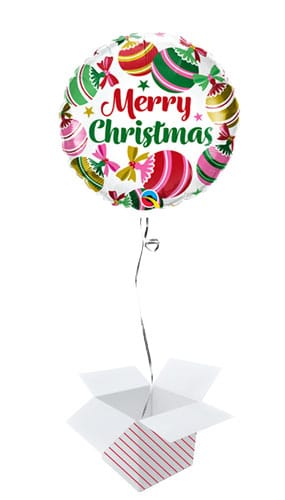 Christmas Ornaments & Stars Round Foil Helium Balloon - Inflated Balloon in a Box