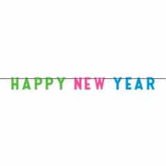 Colourful Happy New Year Plastic Banner 274cm