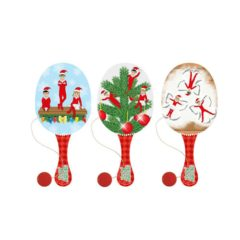 Elfin Around Assorted Wooden Christmas Paddle Bat and Ball Game 22cm