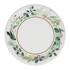 Eucalyptus Green Round Paper Plates 17cm - Pack of 8