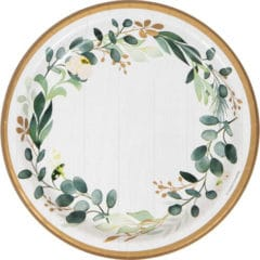Eucalyptus Green Round Paper Plates 22cm - Pack of 8