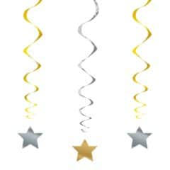 Metallic Swirl Hanging Decorations with Stars - Pack of 3