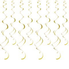 Metallic Gold Swirl Hanging Decorations - Pack of 8