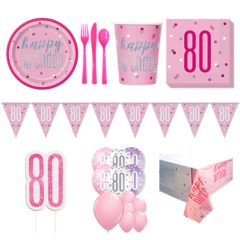 Pink Glitz 80th Birthday 16 Person Deluxe Party Pack