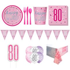 Pink Glitz 80th Birthday 8 Person Deluxe Party Pack