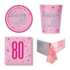 Pink Glitz 80th Birthday 8 Person Value Party Pack