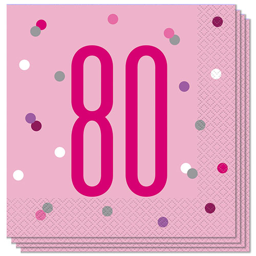 Pink Glitz Age 80 Luncheon Napkins 33cm 2Ply - Pack of 16