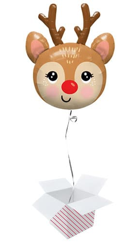 Cute Reindeer Head Christmas Helium Foil Giant Balloon - Inflated Balloon in a Box