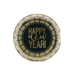 Roaring New Year Metallic Round Paper Plates 17cm - Pack of 8