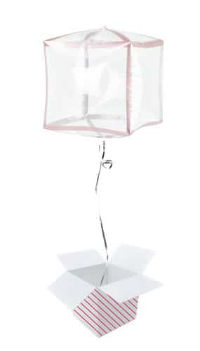 Rose Gold Trim Clear Cubez Foil Helium Balloon - Inflated Balloon in a Box