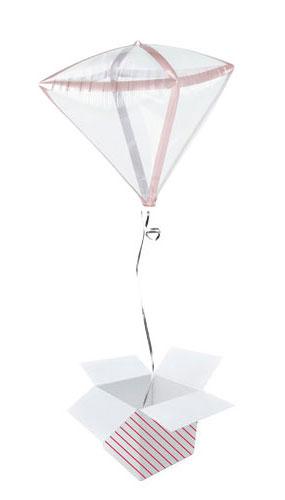 Rose Gold Trim Clear Diamondz Helium Foil Balloon - Inflated Balloon in a Box
