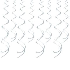 Metallic Silver Swirl Hanging Decorations - Pack of 8