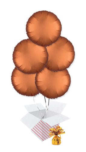 Amber Orange Satin Luxe Round Shape Foil Helium Balloon Bouquet - 5 Inflated Balloons In A Box
