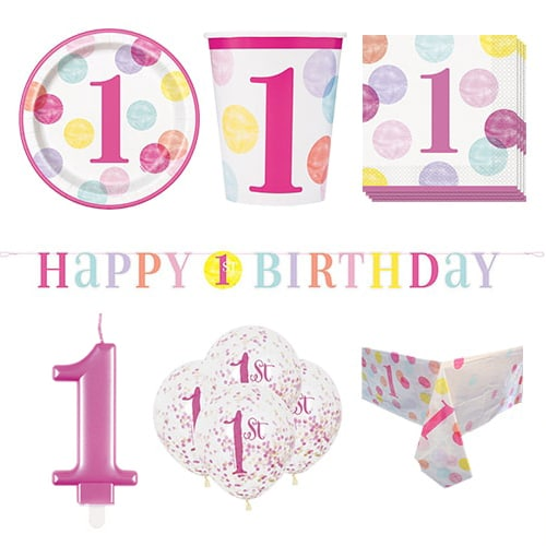 First Birthday Girl 8 Person Deluxe Party Pack