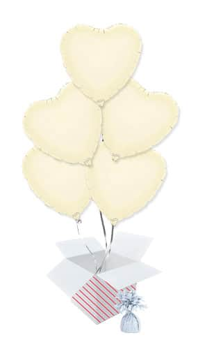 Ivory Heart Foil Helium Balloon Bouquet - 5 Inflated Balloons In A Box