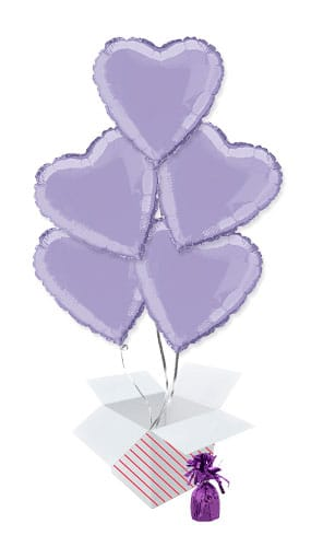 Lavender Heart Foil Helium Balloon Bouquet - 5 Inflated Balloons In A Box