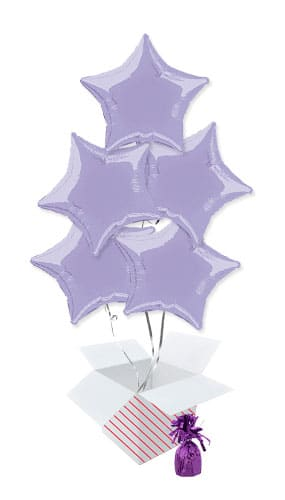 Lavender Star Foil Helium Balloon Bouquet - 5 Inflated Balloons In A Box