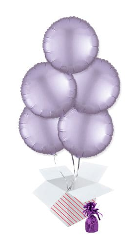 Pastel Lilac Satin Luxe Round Shape Foil Helium Balloon Bouquet - 5 Inflated Balloons In A Box