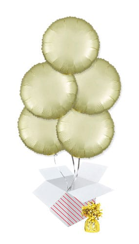 Pastel Yellow Satin Luxe Round Shape Foil Helium Balloon Bouquet - 5 Inflated Balloons In A Box
