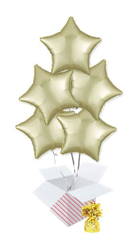 Pastel Yellow Satin Luxe Star Shape Foil Helium Balloon Bouquet - 5 Inflated Balloons In A Box