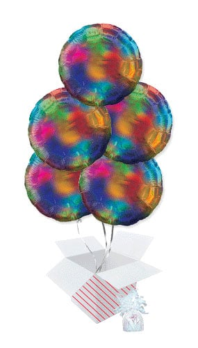 Rainbow Iridescent Round Foil Helium Balloon Bouquet - 5 Inflated Balloons In A Box