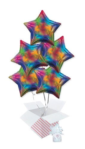 Rainbow Iridescent Star Foil Helium Balloon Bouquet - 5 Inflated Balloons In A Box