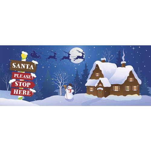 Santa Stop Here Christmas Night PVC Party Sign Decoration 60cm x 25cm