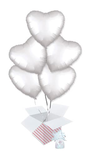 Shimmering White Satin Luxe Heart Shape Foil Helium Balloon Bouquet - 5 Inflated Balloons In A Box