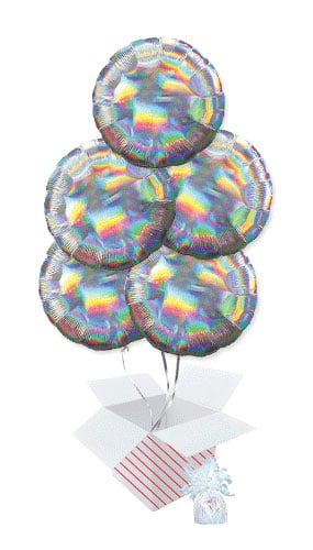 Silver Iridescent Round Foil Helium Balloon Bouquet - 5 Inflated Balloons In A Box