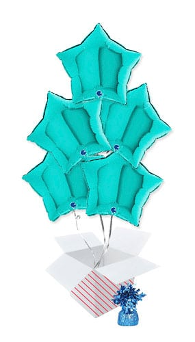 Tiffany Blue Star Shape Foil Helium Balloon Bouquet - 5 Inflated Balloons In A Box