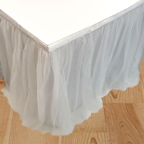 White Deluxe Tulle Table Skirt 180cm x 80cm