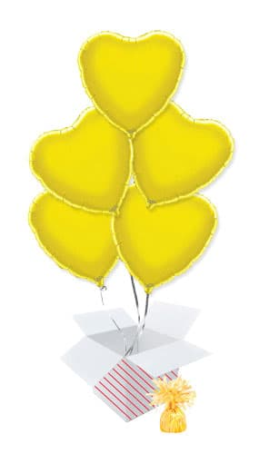 Yellow Heart Foil Helium Balloon Bouquet - 5 Inflated Balloons In A Box