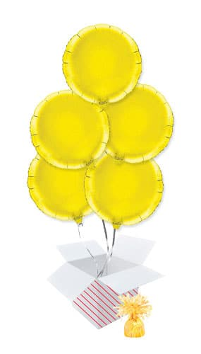 Yellow Round Foil Helium Balloon Bouquet - 5 Inflated Balloons In A Box