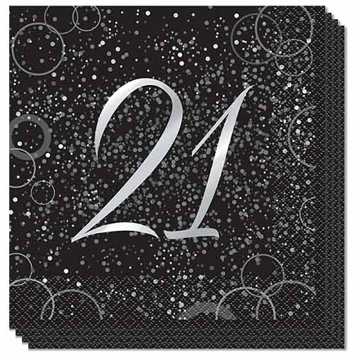 Age 21 Silver Foil Glitz Luncheon Napkins 33cm 2Ply - Pack of 16