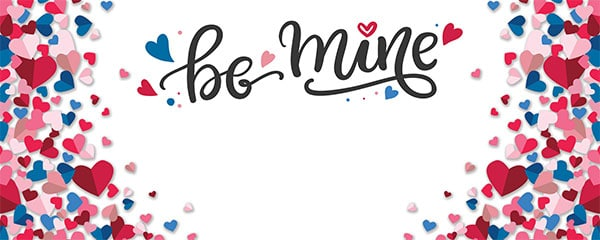 Be Mine Confetti Hearts Valentines Design Medium Personalised Banner – 6ft x 2.25ft