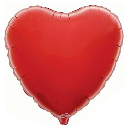 Bright Red Heart Shape Foil Helium Balloon 46cm / 18 in