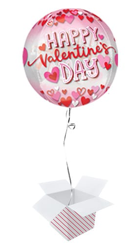 Happy Valentine's Day Hearts Orbz Foil Helium Balloon - Inflated Balloon in a Box
