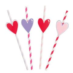 Heart Shapes Striped Paper Straws - Pack of 8