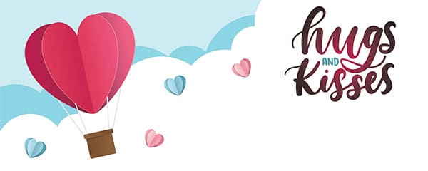Hugs and Kisses Hot Air Balloon Valentines Design Medium Personalised Banner – 6ft x 2.25ft
