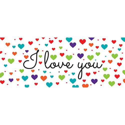 I Love You Colourful Hearts Valentines PVC Party Sign Decoration 60cm x 25cm
