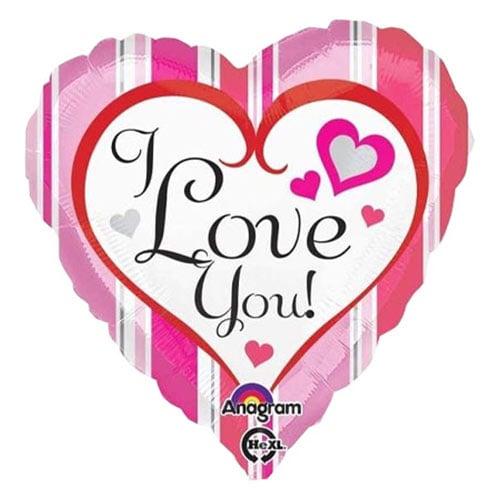 I love You Stripes Heart Shape Foil Helium Balloon 43cm / 17 in