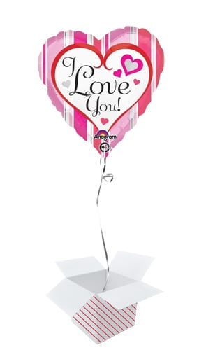 I love You Stripes Heart Shape Foil Helium Balloon - Inflated Balloon in a Box