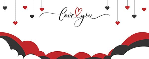 Love You Hearts and Clouds Valentines Design Small Personalised Banner – 4ft x 2ft
