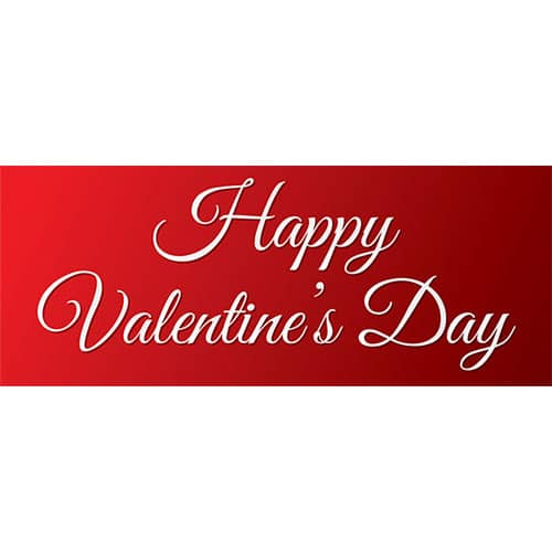 Simply Happy Valentine's Day PVC Party Sign Decoration 60cm x 25cm
